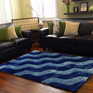 Donnie Ann Shaggy Abstract Two-tone Wavy Cobalt Blue Area Rug (5 'x 7')