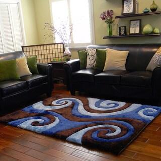 Donnie Ann Shaggy Abstract Swirl Chocolate Area Rug (5 'x 7')