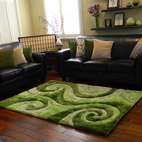 Donnie Ann Shaggy Abstract Swirl Green Area Rug  5    Donnie Ann Shaggy Abstract Swirl Green Area Rug  5  x 7    Free  . Green Living Room Rug. Home Design Ideas