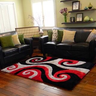 Donnie Ann Shaggy Abstract Swirl Black Area Rug (5 'x 7')