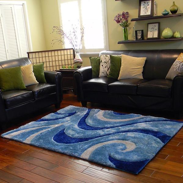 Shop Donnie Ann Shaggy Abstract Wavy Swirl Blue Area Rug