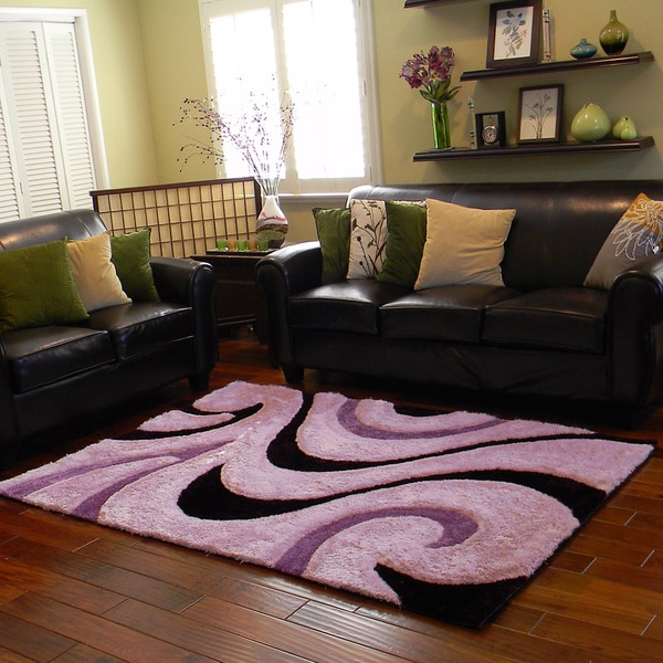 Shop Donnie Ann Shaggy Abstract Wavy Swirl Purple Area Rug