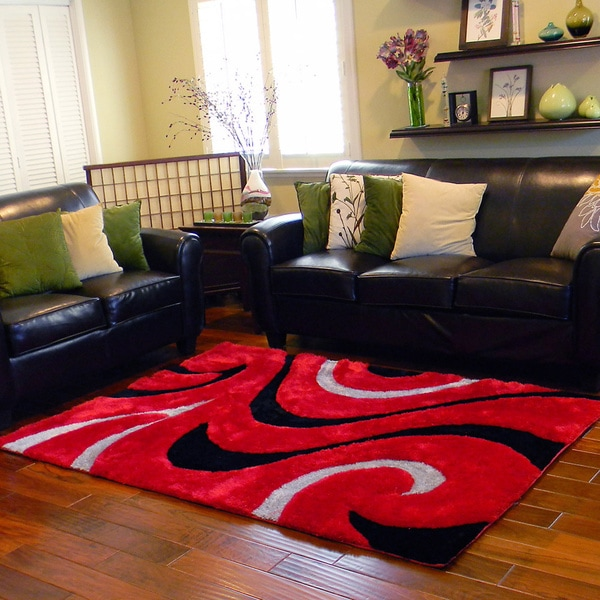 Shop Donnie Ann Shaggy Abstract Wavy Swirl Red Area Rug 5