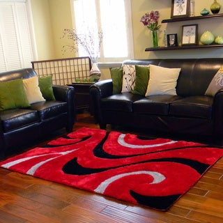 Donnie Ann Shaggy Abstract Wavy Swirl Red Area Rug (5 'x 7')