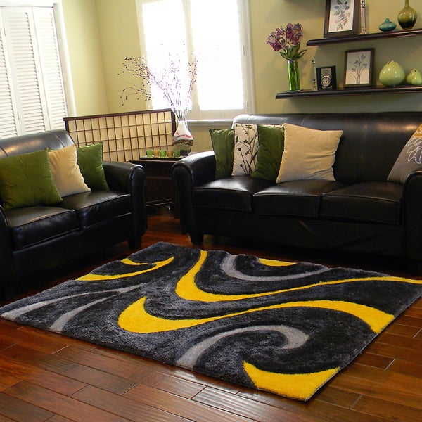 Superb Donnie Ann Shaggy Abstract Wavy Swirl Yellow Area Rug (5 ...