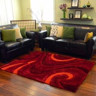 Donnie Ann Shaggy Wavy Swirl Burgundy Area Rug (5 'x 7')