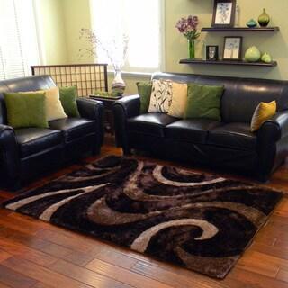 Donnie Ann Shaggy Abstract Wavy Swirl Chocolate Area Rug (5 'x 7')