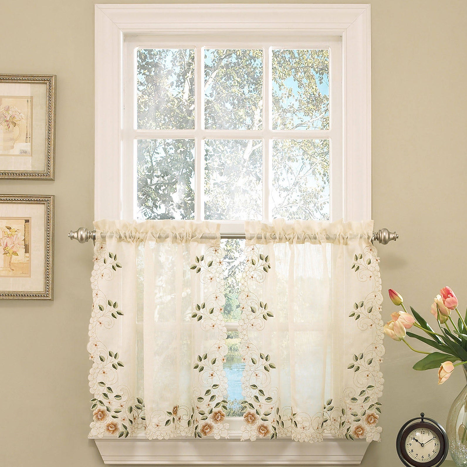 Old world floral embroidered sheer kitchen curtain parts for Old world curtains and drapes