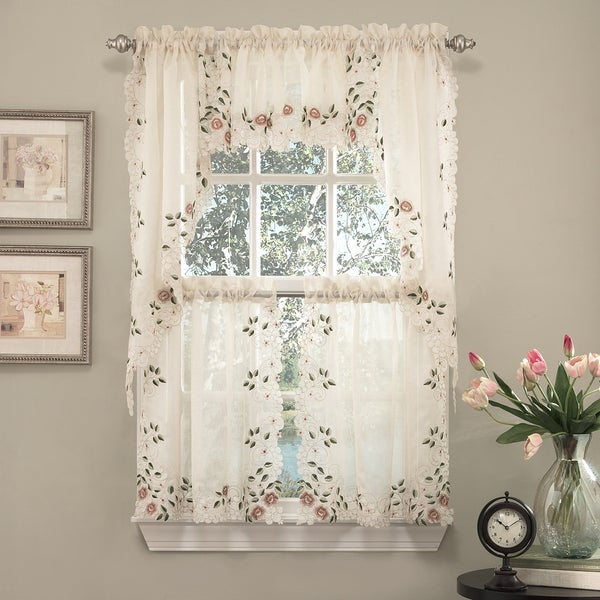 Beau Old World Floral Embroidered Sheer Kitchen Curtain Tier, Swag, And Valance  Parts