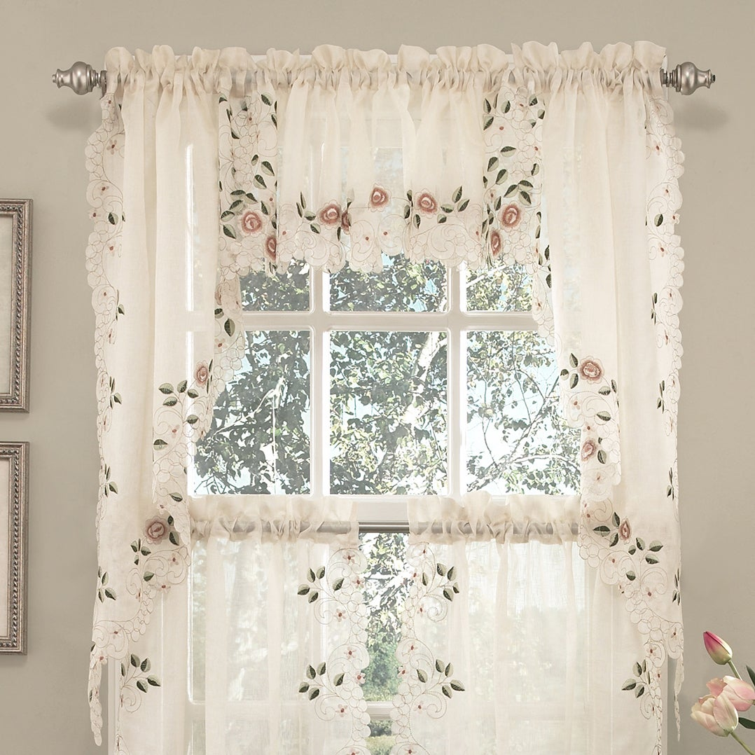 Old World Floral Embroidered Sheer Kitchen Curtain Tier (...