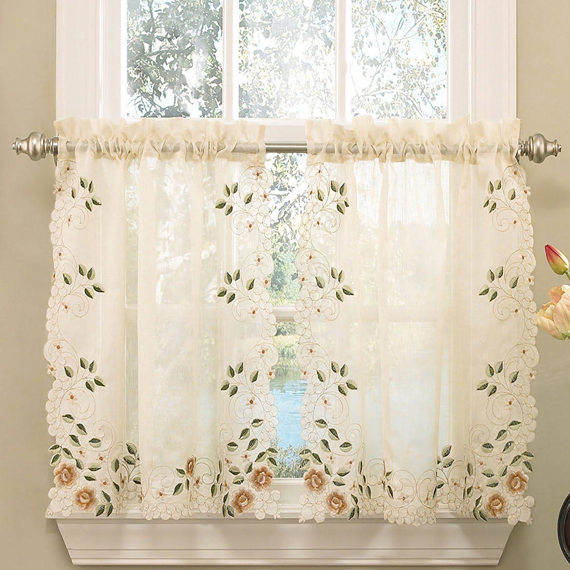 Old world floral embroidered sheer kitchen curtain tier for Old world curtains and drapes
