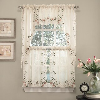 Old World Floral Embroidered Sheer Kitchen Curtain Tier, Swag, and Valance Parts