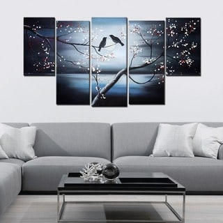 Together Forever Birds' Large 5-panel Canvas Painting Art