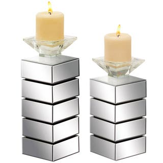 Casa Cortes Hydra Mirrored Pillar Candle Holder (Set of 2)|https://ak1.ostkcdn.com/images/products/9956198/P17109710.jpg?impolicy=medium