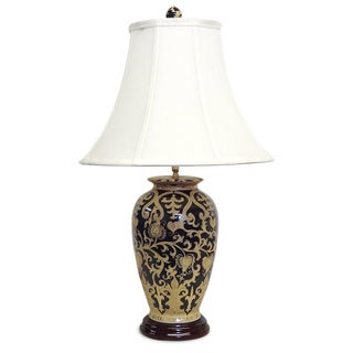Black and Gold Scrolls Porcelain Table Lamp