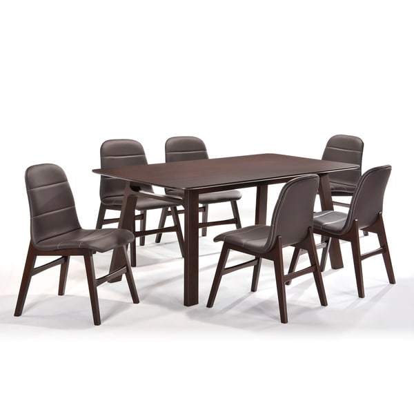 Cafe 7 Piece Dark Brown Dining Set