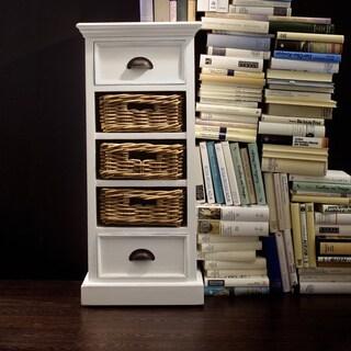 NovaSolo Mahogany Storage Unit with Wicker Baskets