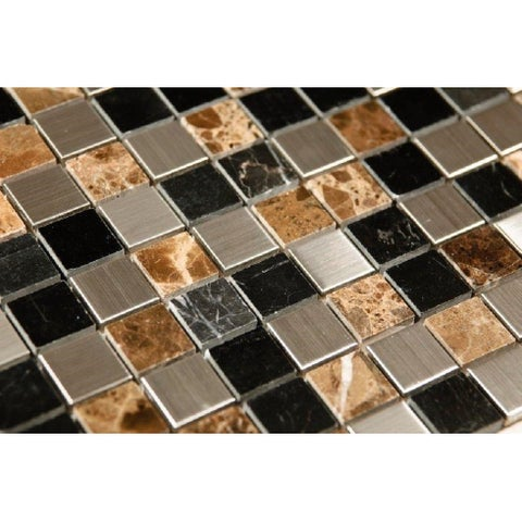 Sepia Stainless Steel and Stone Mix 12 x 12 Mosaic Tiles (Box of 11)