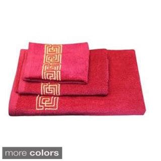 Dainty Home Helena Greek Key Cotton 3-piece Bath Towel Set