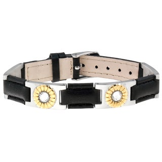 Sabona Black Leather Gem Duet Magnetic Bracelet
