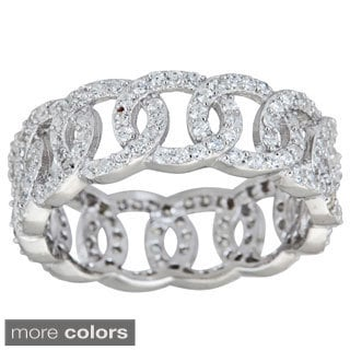 Decadence Sterling Silver Cubic Zirconia Olympic Eternity Ring