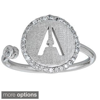 Decadence Sterling Silver Micropave CZ Alphabet Ring