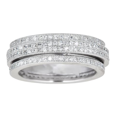 Decadence Sterling Silver Spinner Micropave CZ Eternity Ring