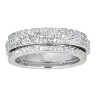 Decadence Sterling Silver Spinner Micropave CZ Eternity Ring (4 options available)