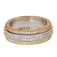 Decadence Sterling Silver Tricolor Spinner Micropave CZ Eternity Ring