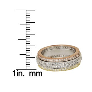 Decadence Sterling Silver Tricolor Spinner Micropave CZ Eternity Ring (4 options available)