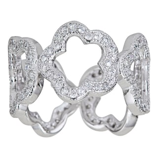 Decadence Sterling Silver Open Flower Micropave CZ Eternity Ring
