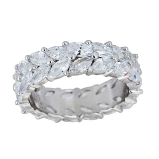 Decadence Sterling Silver Fancy Marquis and Micropave CZ Eternity Ring