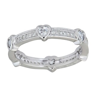 Decadence Sterling Silver Heart Micropave CZ Eternity Ring
