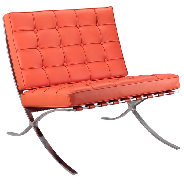 Shop Orange Italian Leather Lounge Chair Free Shipping