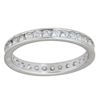 Decadence Sterling Silver Round Channel Set CZ Eternity Ring