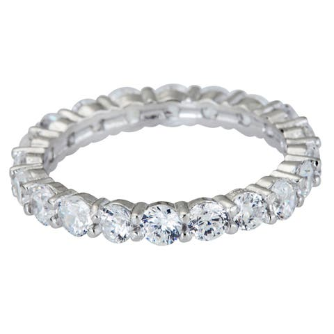 Decadence Sterling Silver Round-cut CZ Micropave Eternity Ring