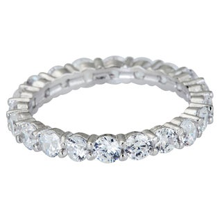 Decadence Sterling Silver Round-cut CZ Micropave Eternity Ring (4 options available)