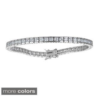Decadence Sterling Silver Princess-cut Cubic Zirconia Tennis Bracelet