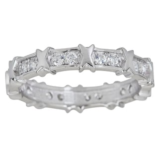Decadence Sterling Silver Micropave Cubic Zirconia X Eternity Ring