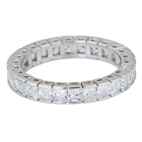 Decadence Serling Silver Princess-cut Micropave CZ Eternity Ring