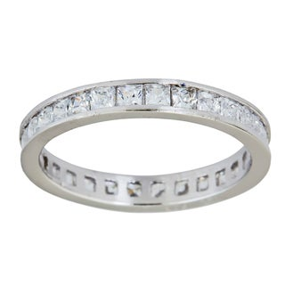 Decadence Sterling Silver Princess-cut Channel Set CZ Eternity Ring