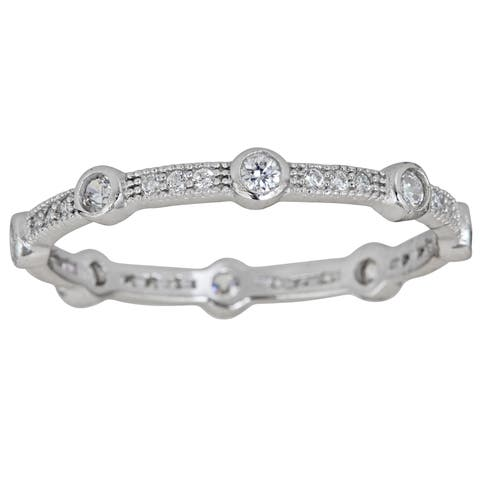 Decadence Sterling Silver Round-cut CZ Fancy Micropave Eternity Ring