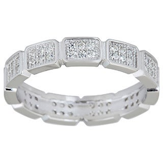 Decadence Sterling Silver Cubic Zirconia Micropave Eternity Ring