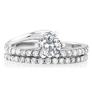 925 Sterling Silver Set of Cubic Zirconia Engagement and Wedding Band Rings