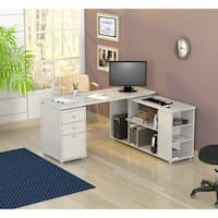 Inval L-shaped Computer Workstation Desk