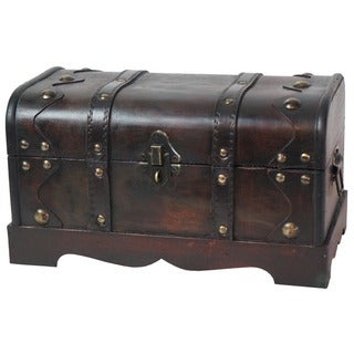 Small Pirate Style Wooden Treasure Chest - cherry