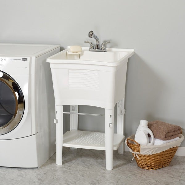 Zenith Ergo Tub Complete, Freestanding Utility Laundry Sink Kit   Free  Shipping Today   Overstock.com   17109927