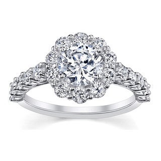 18k White Gold 1ct TDW Certified Round-cut Diamond Engagement Ring