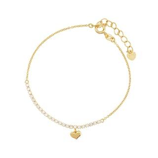 Blue Box Jewels Goldtone Sterling Silver Heart Pendant Link Bracelet