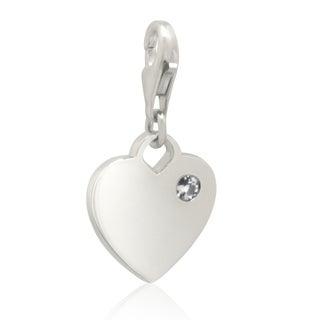 Sterling Silver 1/10ct TDW Diamond Heart Charm (H-I, I2-I3)